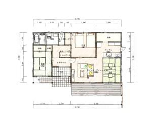渡辺淳邸1階 平面図色鉛筆