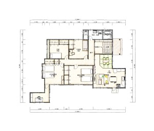 長沢邸リフォーム1階 平面図色鉛筆160317